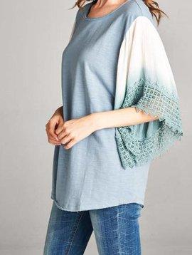 Blue Kimono Sleeve Top