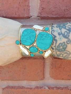 Pearl+Turquoise Cuff
