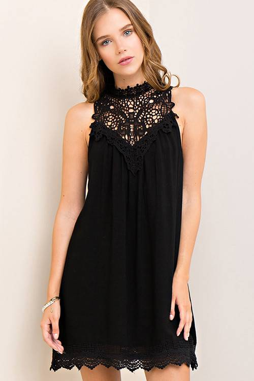 Black Crochet Lace Dress