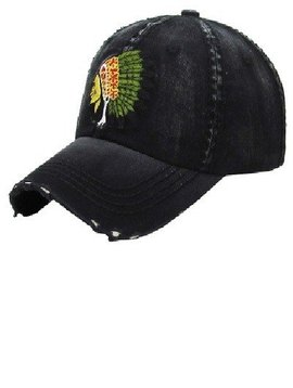Black Chief Distressed Hat