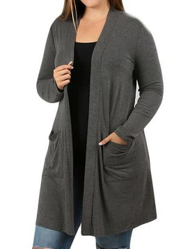 Charcoal Pocket Cardi Curvy