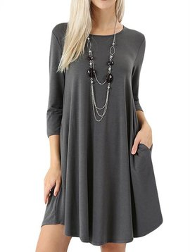 Ash Gray Shirt Dress