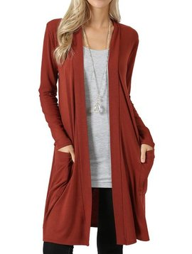 Slouch Pocket Cardi Rust