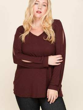 Burgundy Split-Sleeve Top - Curvy