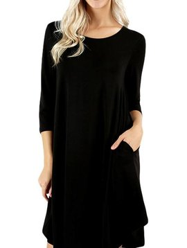Midnight Black Shirt Dress
