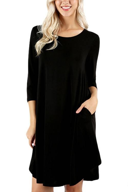 Midnight Black Shirt Dress