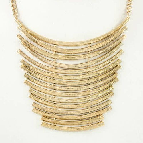 Gold Tier Bib Necklace