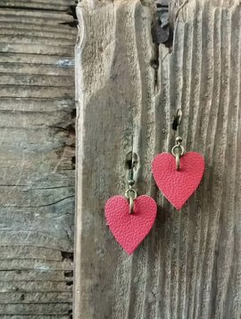 Leather Solite Heart Earring #1