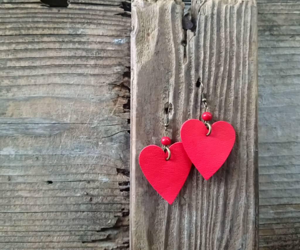 Leather Solite Heart Earring #7