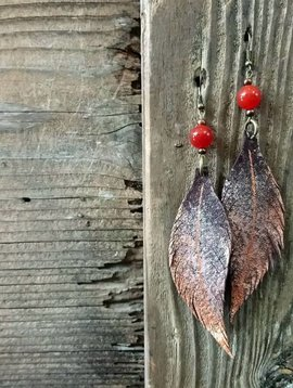 Leather Feather Earring #1