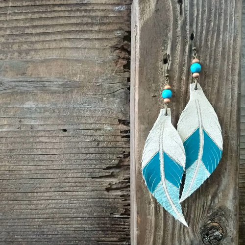 Leather Solite Feather Earring #2