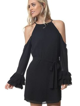 Chiffon Cold Shoulder Little Black Dress
