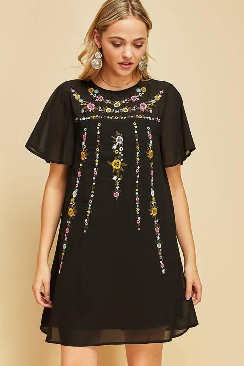 Floral Embroidered Little Black Dress