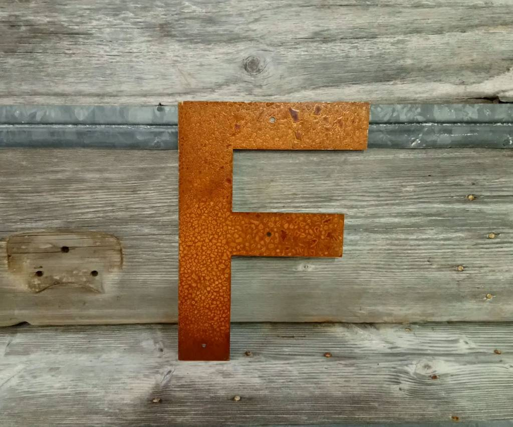 """Rusted Metal Letter F 12"""""""