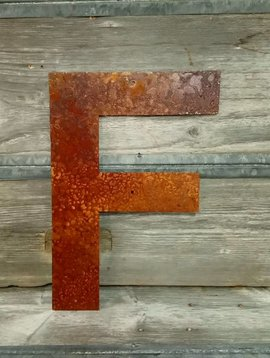 """Rusted Metal Letter F 18"""""""