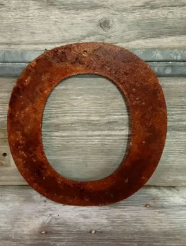 Rusted Metal Letter O 12""