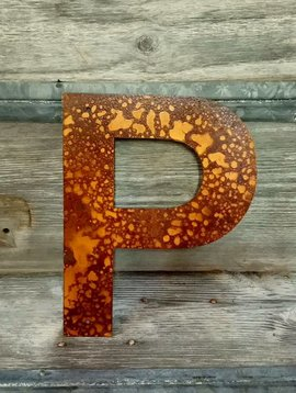 """Rusted Metal Letter P 18"""""""