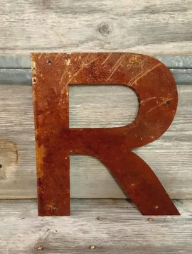 Rusted Metal Letter R 12""