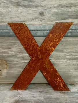 Rusted Metal Letter X 12""