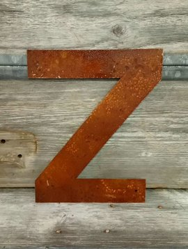 Rusted Metal Letter Z 12""