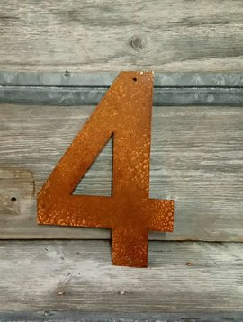Rusted Metal Number 4 12""