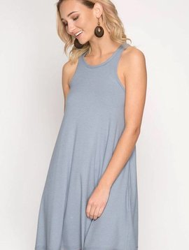 Blue Grey Ribbed Racerback Dress