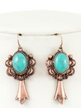 Copper + Turquoise Earring