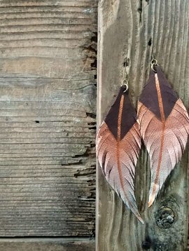 Leather Feather Earring #5