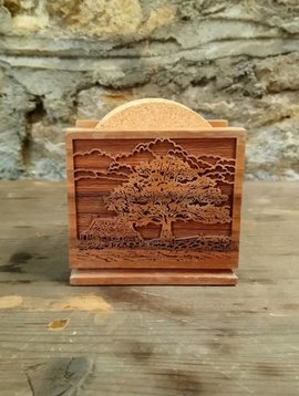 Carved Wooden Tree Coaster Holder