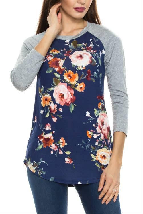 Floral Raglan Sleeve T-Shirt - Curvy