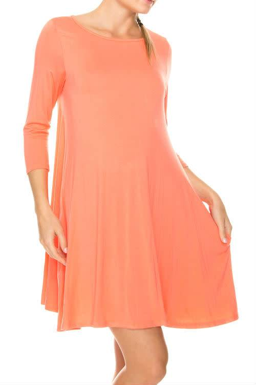 Coral Shirt Dress Curvy