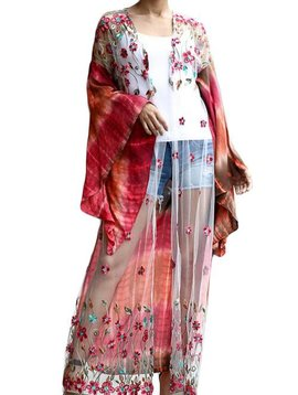 Bohemian Floral Embroidered Duster