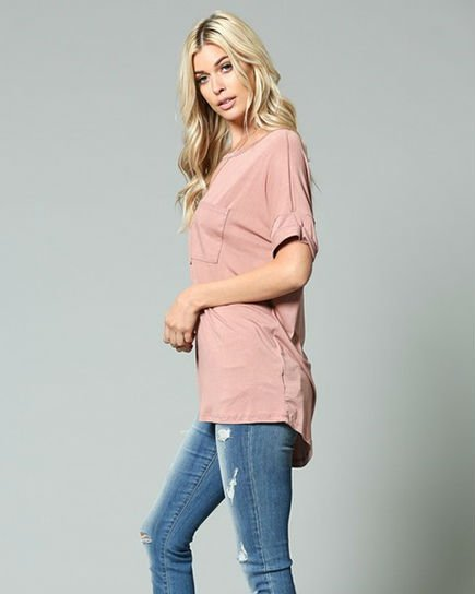 Mauve Pocket Tee Curvy