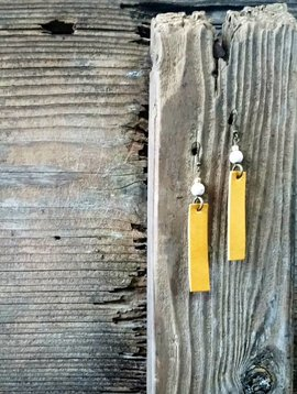 Yellow Leather Bar Earrings