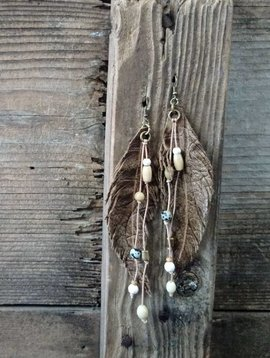 Brown Beaded Leather Feather Earrings