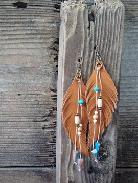 Leather Feather Earring Long #2