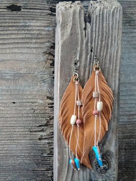 Leather Feather Earring Long #1