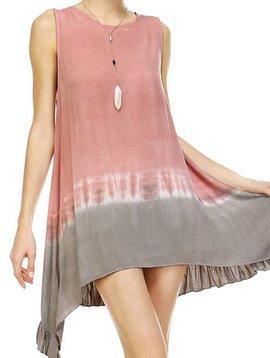Dusty Pink Tie Dye Sleeveless Dress