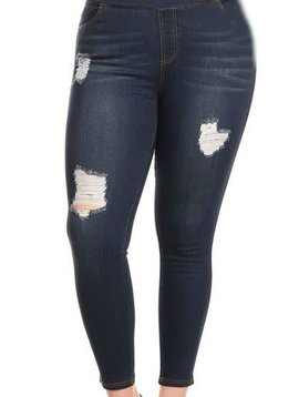 Dark Wash Distressed Jeggings - Curvy Girl