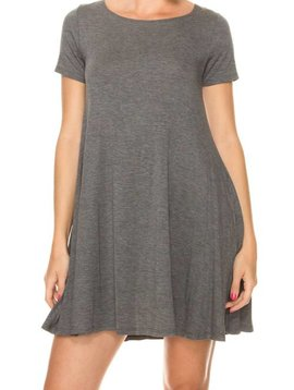 Charcoal Short Sleeve Dress with Pockets - Curvy