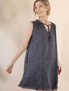 Fringe V-Neck Mineral Wash Dress with Pockets