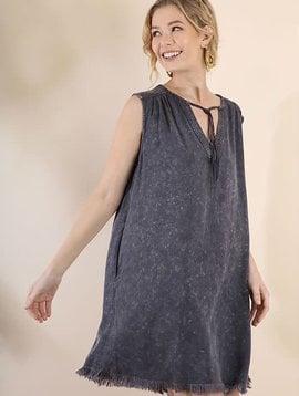 Fringe V-Neck Mineral Wash Dress with Pockets