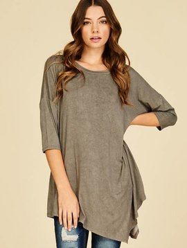 Asymmetrical Scoop Neck Shirt - Curvy