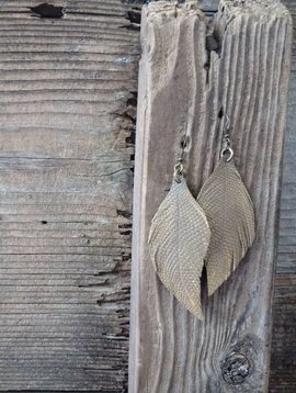 Leather Feather Earring #8