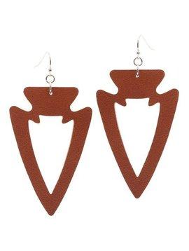 Leather Arrowhead Earring Brown