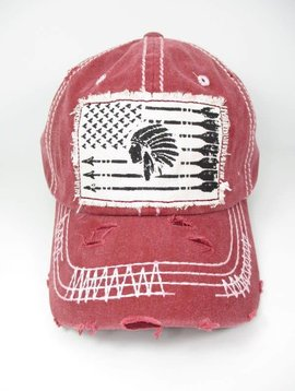 Indian Chief Arrow Ball Cap - Red
