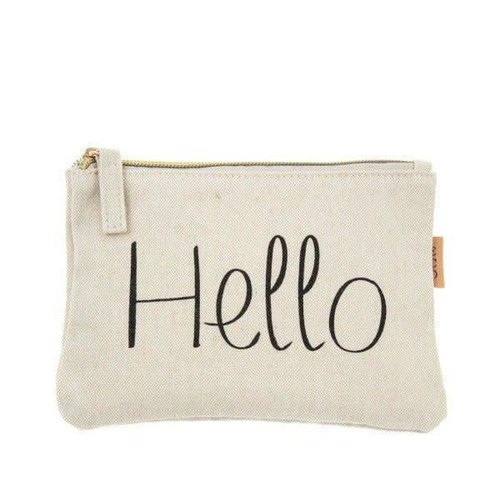 Hello Canvas Zipper Pouch