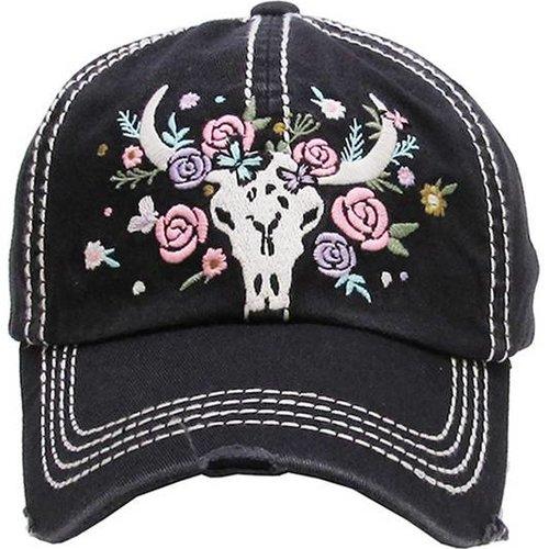 Floral Skull Ball Cap