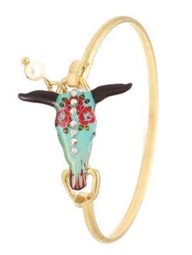 Floral Steer Skull Wire Bracelet Gold