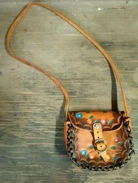 Floral Tooled Leather Mini Purse